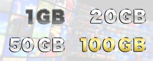 1GBから100GBで比較