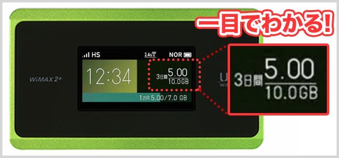 wx06のデータ量確認方法