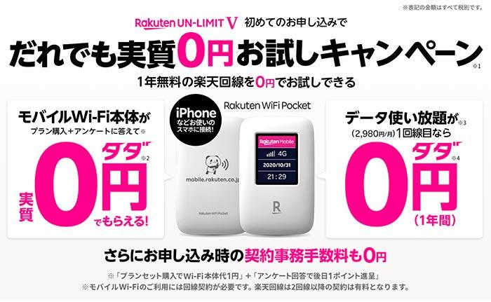 楽天WiFiのキャンペーン情報